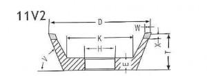 11V2 grinding wheel shape