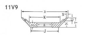 11V9 grinding wheel shape