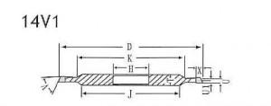 14V1 grinding wheel shape