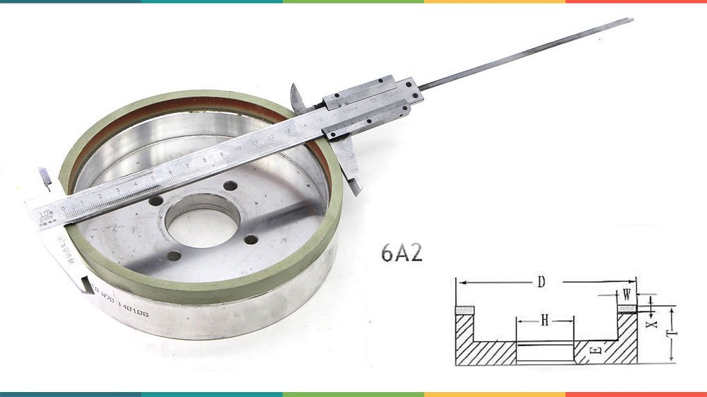 how to measure and make 6A2 grinding wheel drawing