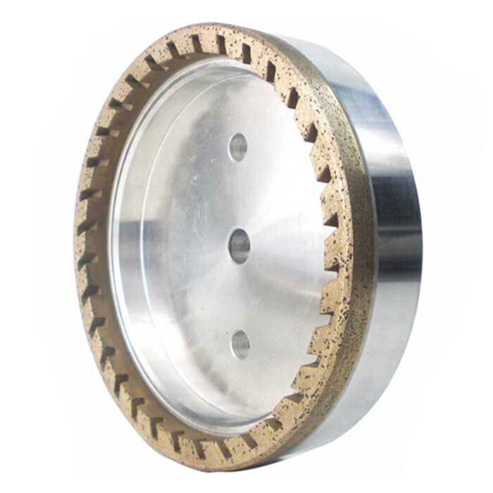Half segmented diamond cup wheel for glass