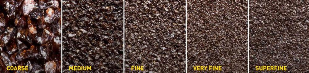 rough and fine particle abrasive grain
